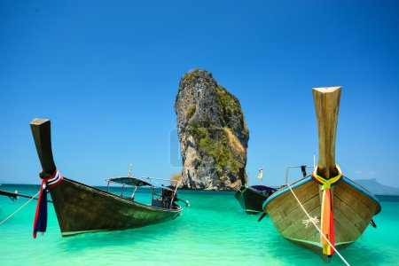 Photo for Traditional boat in the beach is one of main tourist attraction in Thailand - Royalty Free Image