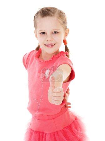 Photo pour Été, Enfants, fille, enfant, enfant-charmante petite fille dans une robe d'été posant amusant. Isolé sur fond blanc . - image libre de droit