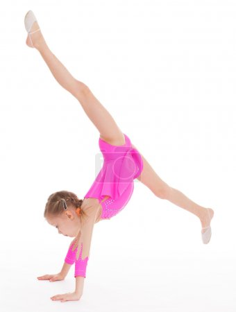 Charming young girl gymnast.