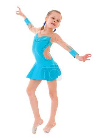Child girl doing fitness exercises