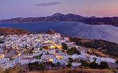 Plaka village dusk panorama, Milos island, Cyclades, Greece