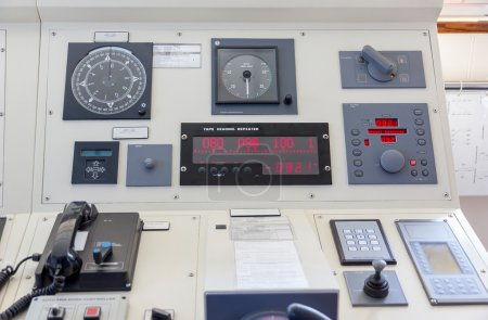 Instruments in the bridge of a modern ship