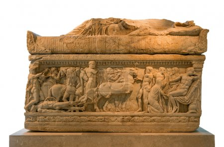 Ancient Greek marble sarcophagus from Epirus decor...
