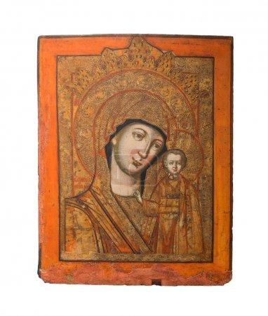 Photo pour Selon la tradition, l'icône d'origine a été découvert le 8 juillet 1579, sous terre dans la ville de kazan par une petite fille, matrona, à qui l'emplacement de l'image a été révélé par la Vierge Marie, la Vierge Marie, dans une apparition mariale. - image libre de droit