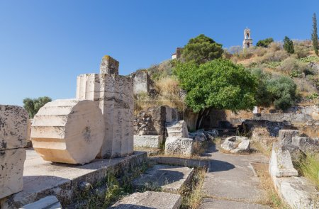 Ancient ruins in the archaeological site of Eleusis, Attica, Greece