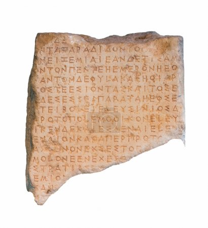 Photo for Fragment of an ancient Greek inscribed stele from ancient Eleusis, Attica, isolated. - Royalty Free Image