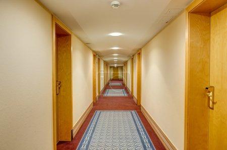 Long corridor in hotel