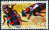 EQUATORIAL GUINEA - CIRCA 1978: A stamp printed in Equatorial Guinea from the Insects  issue shows Nicrophorus americanus, circa 1978.
