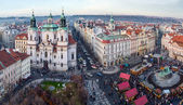 View of Old Town square and St. Nicholas Church, Prague, Czech Republic