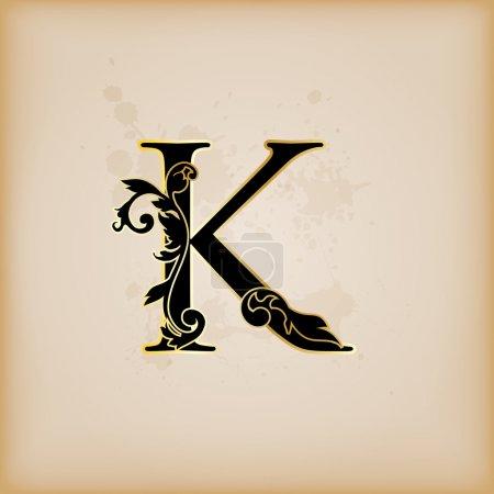 Illustration for Vintage initials letter k - Royalty Free Image