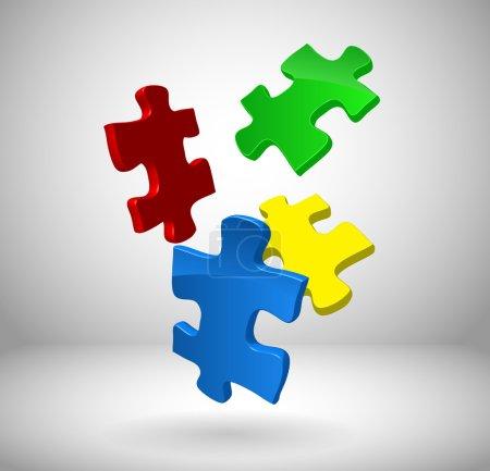 Illustration pour Puzzles 3d tombant au sol - image libre de droit