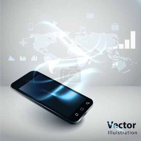 Photo for Modern communication technology illustration with mobile phone and high tech background - Royalty Free Image