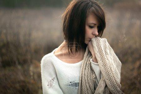 Beautiful girl freezing outdoor
