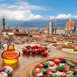 Florence with Cathedral and typical Italian pizza ...