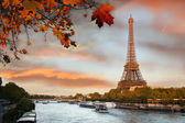 Eiffel Tower with boat in Paris, France