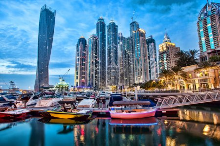 Dubai Marina with skyscrapers and boats in Dubai, United Arab Emirates