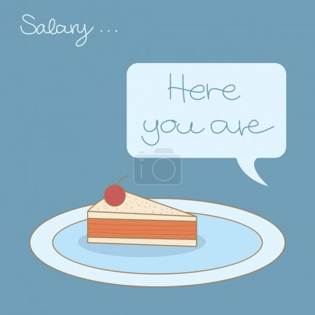 Illustration for A small piece of salary cake received - Royalty Free Image