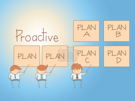 Illustration for Business man proactive solution plan cartoon character - Royalty Free Image