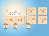 Proactive solution plan cartoon character