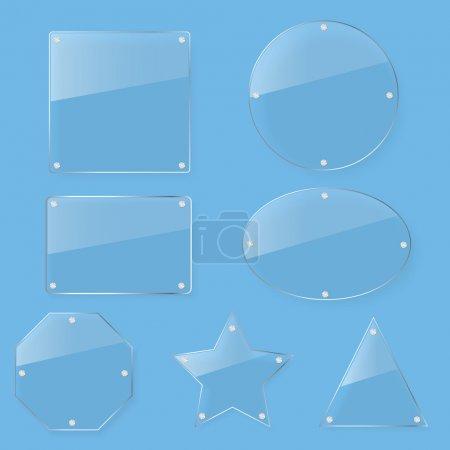 Illustration pour Ensemble de plaque de verre transparent teinte - image libre de droit