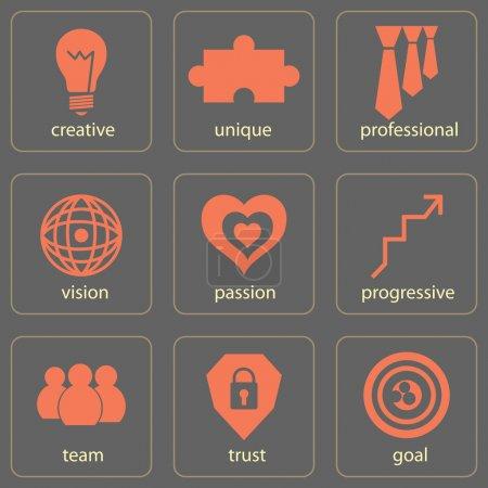 Illustration pour Concept d'entreprise icône ensemble - image libre de droit