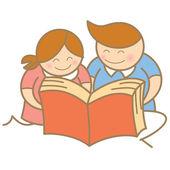 Děti čtení otevřené knihy