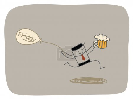 Illustration for Happy friday. Man with beer - Royalty Free Image