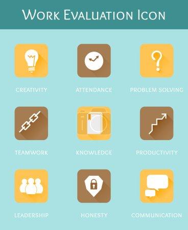 Work evaluation business concept flat icon set