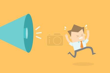 business man running stress as boss shouting