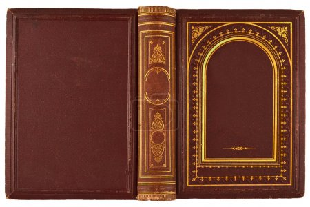 Photo for Brown, old book with gilded ornament isolated on white - Royalty Free Image