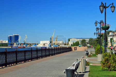 Central embankment in the summer of 2012. Astrakhan