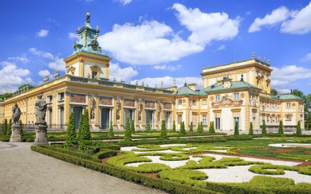 The Palace in Wilanow district in Warsaw, Poland. Wilanów Palace was built for king John III Sobieski in the last quarter of the 17th century and later was enlarged by other owners