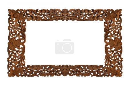 Photo pour Cadre en bois sculpté sur fond blanc - image libre de droit