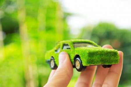Photo for Hand Holding Eco car icon concept - Royalty Free Image