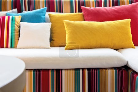 Photo for Colorful cushions in sofa. - Royalty Free Image