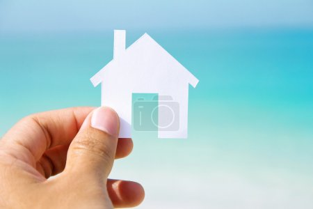 Photo for Hand holding icon house, my dream house concept - Royalty Free Image