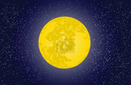 Illustration for Night sky background with moon and stars, vector illustration - Royalty Free Image