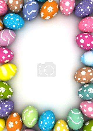 Photo pour Cadre avec des œufs de Pâques (images générées par ordinateur ) - image libre de droit