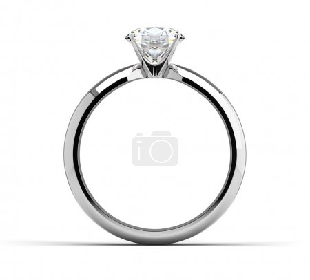 Photo for Single diamond ring on white - Royalty Free Image