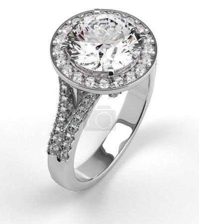 Foto de Multi anillo de diamantes en blanco - Imagen libre de derechos