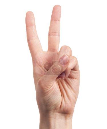 Photo pour Main montrant le signe de la victoire et de la paix en gros plan isolé sur fond blanc - image libre de droit
