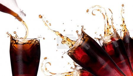 Photo for Fresh coke background with splash isolated on a white - Royalty Free Image
