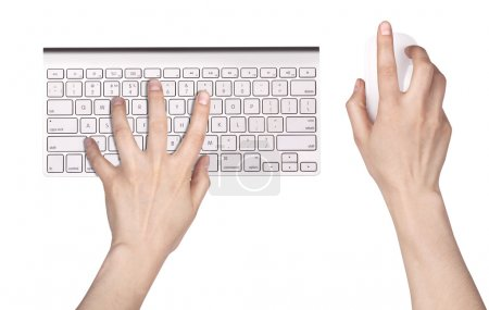 Photo for Hand and Computer keyboard, mouse isolated - Royalty Free Image