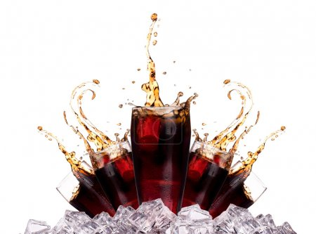 Photo for Fresh cola drink background with ice and splash isolated on a white - Royalty Free Image