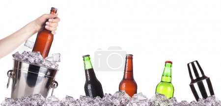 Photo for Frosty beer with ice bucket and hand isolated on a white background - Royalty Free Image