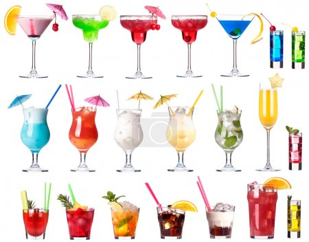 Photo for Set of alcoholic cocktails isolated on white background - Royalty Free Image
