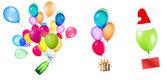 Dárek, šampaňské a prázdnou kartu na barevné balónky