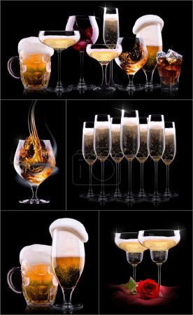 Photo for Different images of alcohol - beer, martini, cola, champagne, wine, juice, scotch, whiskey - Royalty Free Image