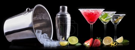 Photo for Alcohol cocktail set on a black. Berry cooler cocktail, martini, mojito - Royalty Free Image