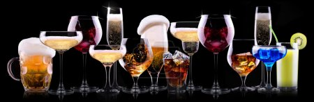 Photo for Different alcohol drinks set  - beer, wine, cocktail,juice, champagne, scotch, soda - Royalty Free Image